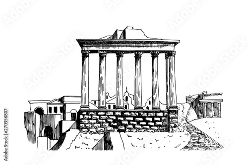 Photo  vector sketch of Ancient ruins of a Roman Forum or Foro Romano, Rome, Italy