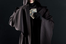 Cropped View Of Woman In Death Costume Holding Tarot Cards Isolated On Black
