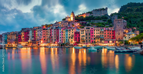 Poster Bleu Fantasticspring sunset in Portovenere town. Picturesque evening seascape of Mediterranean sea, Liguria, province of La Spezia, Italy, Europe. Traveling concept background.