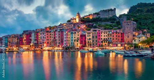 Poster Ligurie Fantasticspring sunset in Portovenere town. Picturesque evening seascape of Mediterranean sea, Liguria, province of La Spezia, Italy, Europe. Traveling concept background.