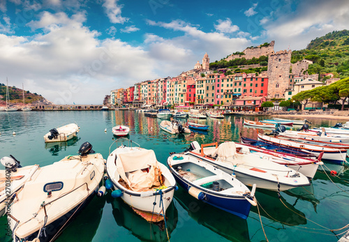 Poster de jardin Europe Méditérranéenne Picturesque morning view of Portovenere town. Great spring seascape of Mediterranean sea, Liguria, province of La Spezia, Italy, Europe. Traveling concept background.