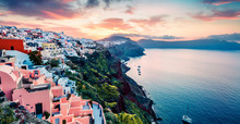 Attractive Morning Panorama Of Santorini Island. Picturesque Spring Sunrise On The Famous Greek Resort Oia, Greece, Europe. Traveling Concept Background. Artistic Style Post Processed Photo.