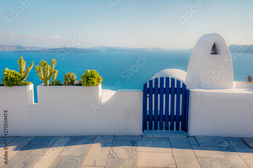 Aluminium Prints Santorini Sunny morning scene of Santorini island. Great spring view of the famous Greek resort Fira, Greece, Europe. Traveling concept background. Artistic style post processed photo.