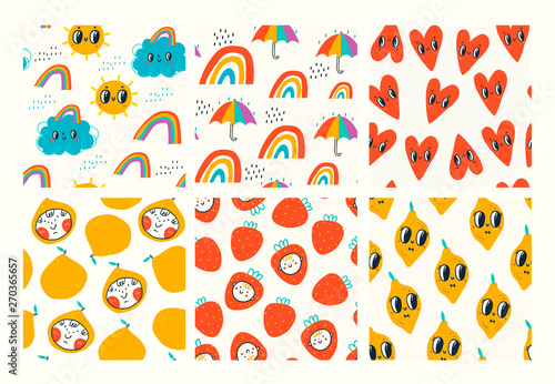 Big set of six hand drawn vector seamless pattern. Colored trendy illustrations for kids. Cartoon style. Flat design. Children's drawings style. Hearts, rainbows, fruits. Every pattern is isolated