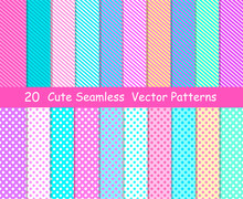 Seamless Vector Patterns In Lol Doll Surprise Style. Endless Backgrounds With Stripes And Polka Dots