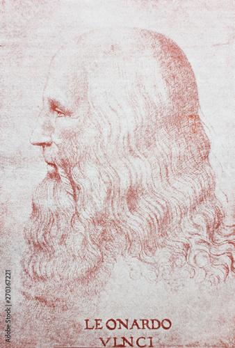 Profile of Leonardo da Vinci in a vintage book Leonard de Vinci, author A Tablou Canvas