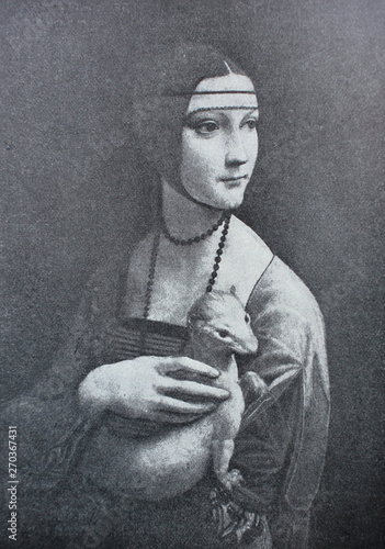 Tablou Canvas Lady with an ermine by Leonardo Da Vinci in a vintage book Leonard de Vinci, author A