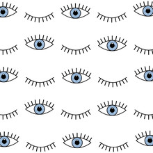 Abstract Seamless Sport Eyes Pattern For Girls, Boys. Creative Sport Vector Pattern With Psychodelic Eyes. Funny Eyes Pattern For Textile And Fabric. Fashion Sport Style. Background For Kids