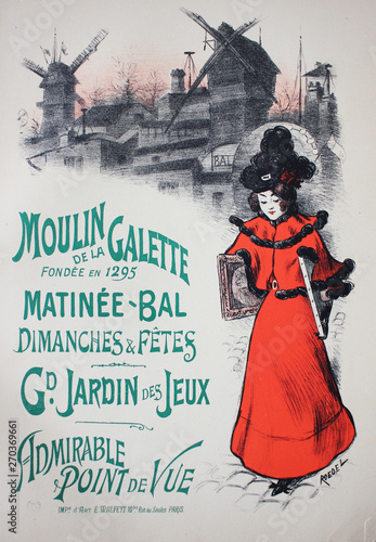 Fototapeta  The advertising poster with woman in red dress  in the vintage book Les Maitres de L'Affiche, by Roger Marx, 1897