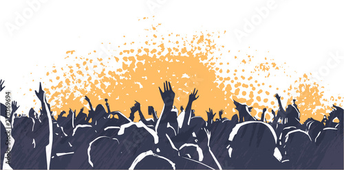 Illustration of large crowd of young people at live music event party festival - 270369694