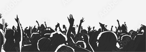 Illustration of large crowd of young people at live music event party festival Fototapet