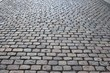 Close up detailed view on a cobblestone street pavement in high reoslution