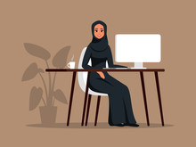 Young Arab Girl Sitting At The Table Using The Computer. Muslim Business Woman Wearing Hijab Working At Home Or Office. Color Vector Illustration In Flat Cartoon Style.