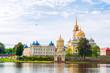 Leinwandbild Motiv Tver region, Russia. Nilo-Stolobensky Monastery in Tver region and the Seliger lake in Tver, Russia - summer view
