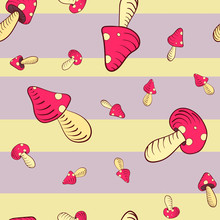 Seamless Repeating Pattern Of Big And Small Red Toadstool Mushrooms, On A Retro Stripe Background - Vector. Suitable For Use In Crafting, Fashion, Kids Decoration, Wallpaper Etc.
