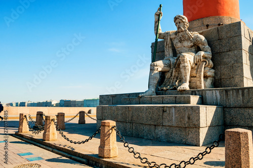 Valokuvatapetti Allegorical figure of the Volkhov river at the rostral column and Palace embankm