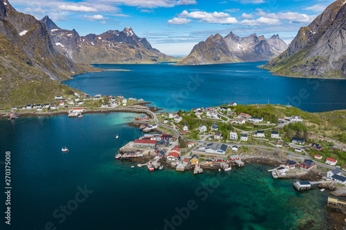 Photo Stands Caribbean Aerial view of Reine, Lofoten islands, Norway. The fishing village of Reine. Spring time in Nordland. Blue sky. View from above.