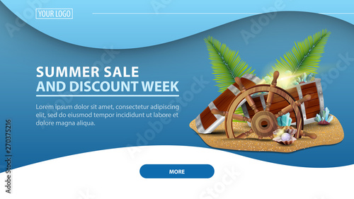 Fotomural Summer sale and discount week, modern horizontal discount web banner for your we