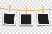Blank Photo Frame Hanging On Line Or Rope. Vector Illustration