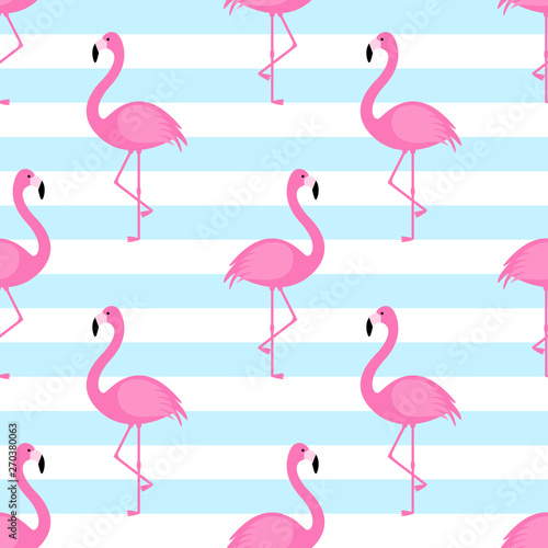 Spoed Foto op Canvas Flamingo Summer seamless pattern with pink flamingo on striped background. Vector illustration