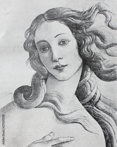Foto Venus (detail) by Sandro Botticelli in the vintage book The Florence, the painting gallery, by E
