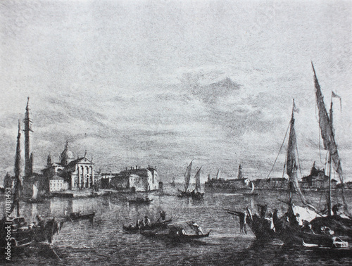 Foto auf Leinwand Grau The Venice by Francesco Guardi in the vintage book The History of Painting in XIX, by R.Mutter, 1899
