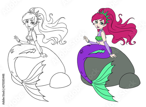 Cute mermaid sitting on rock. Hand drawn vector doodle. Can be used for children mobile games, coloring books, stickers, cards, tattoo, t-shirt design.