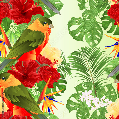 Deurstickers Papegaai Seamless texture tropical bird cute small funny bird and red hibiscus and Strelitzia reginae monstera palm watercolor style on a white background vintage vector illustration editable hand draw