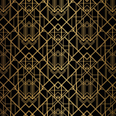 Panel Szklany Art Deco Art Deco Pattern. Seamless black and gold background.