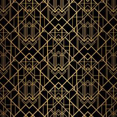 Fototapeta Art Deco Art Deco Pattern. Seamless black and gold background.