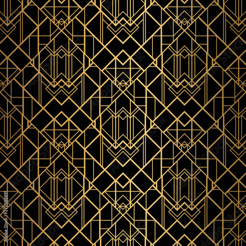 Papel de parede  Art Deco Pattern. Seamless black and gold background.