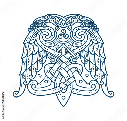 Photo  Scandinavian tattoo of the symbol of God Odin