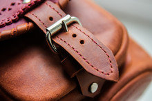 Leather Pocket Bag Detail, Brown Leather Clasp, Close-up