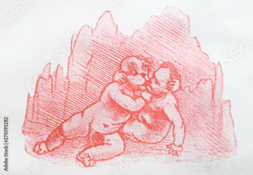 Photo  The drawing of children by  Leonardo da Vinci in the vintage book Leonardo Da Vinci by M