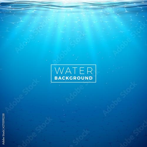 Fotografía Vector underwater blue ocean background design template