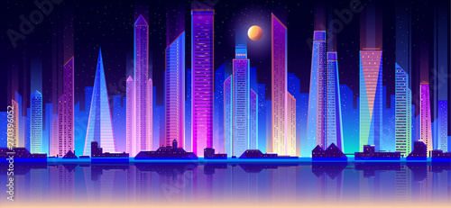 Foto  Modern night city skyline neon color flat vector with full moon in starry sky, downtown illuminated skyscrapers reflection in metropolis quay illustration