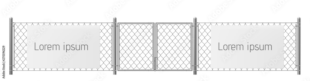 Fototapeta Free space, good place for visual outdoor advertisement realistic vector. White, blank ad banner or billboard on chain-link fence with metallic pillars and gate illustration. Security warning template