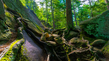 A Hiking Trail At Purgatory Chasm State Reservation In Sutton Massachusetts