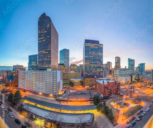 Poster Gris Denver, Colorado, USA downtown cityscape