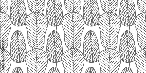 Beautiful vector seamless pattern made of monochrome feathers and leaves in w...