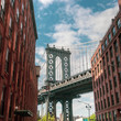 New York City Brooklyn old buildings and bridge in Dumbo
