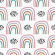 Seamless pattern with hand drawn rainbows. Childish texture for fabric, textile, apparel. Vector background.