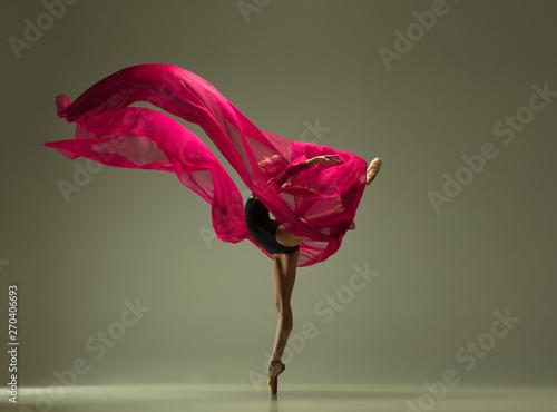 Graceful ballet dancer or classic ballerina dancing isolated on grey studio background Fototapet