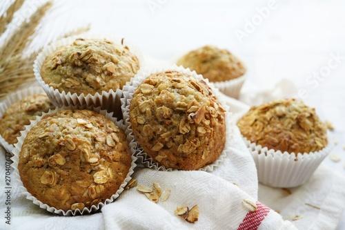 Canvas Print Homemade Oatmeal Granola muffins, selective focus