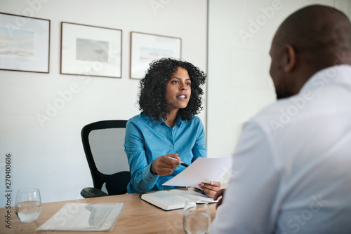 Photo  Manager conducting a job interview in her office