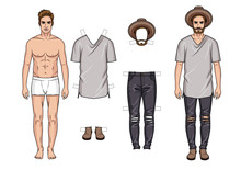 Vector Colorful Illustration Of Fashionable Men's Outfits Isolated From White Background. Cartoon Style Guy Paper Doll With Trendy Clothes. Young Guy With Modern Wardrobe Of Hipster Style