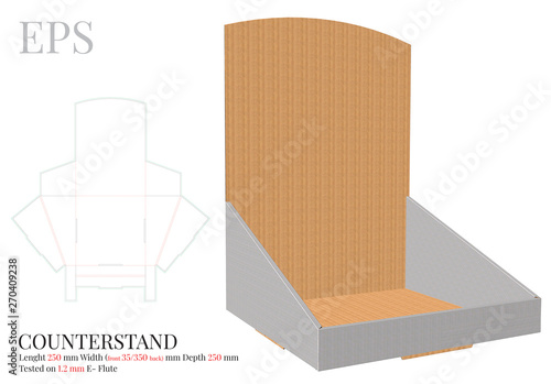Fotomural Counter Display Template, Vector with die cut / laser cut layers