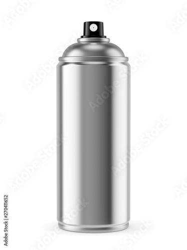 Blank spray paint metal can isolated on white Canvas Print