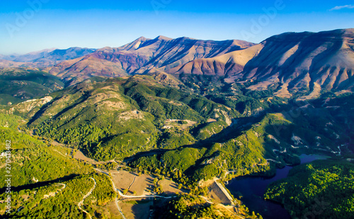Photo Mountains range in albania from drone flight