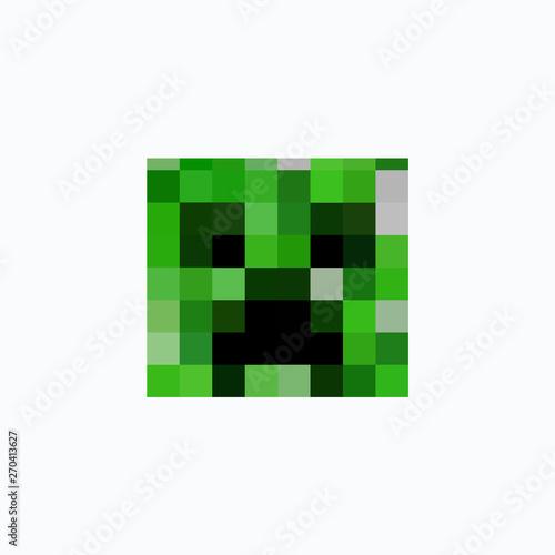 Photo  Minecraft icon. Head-cube icon. Vector illustration. EPS 10.